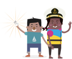 Cartoon avatars of a boy holding a boatsmart card and a girl wearing a captain helmet