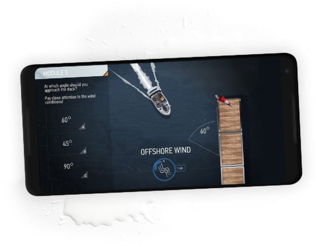 An iPhone rests on a splash of water, the screen depicting a boat arriving to shore with a captain detailing an offshore wind