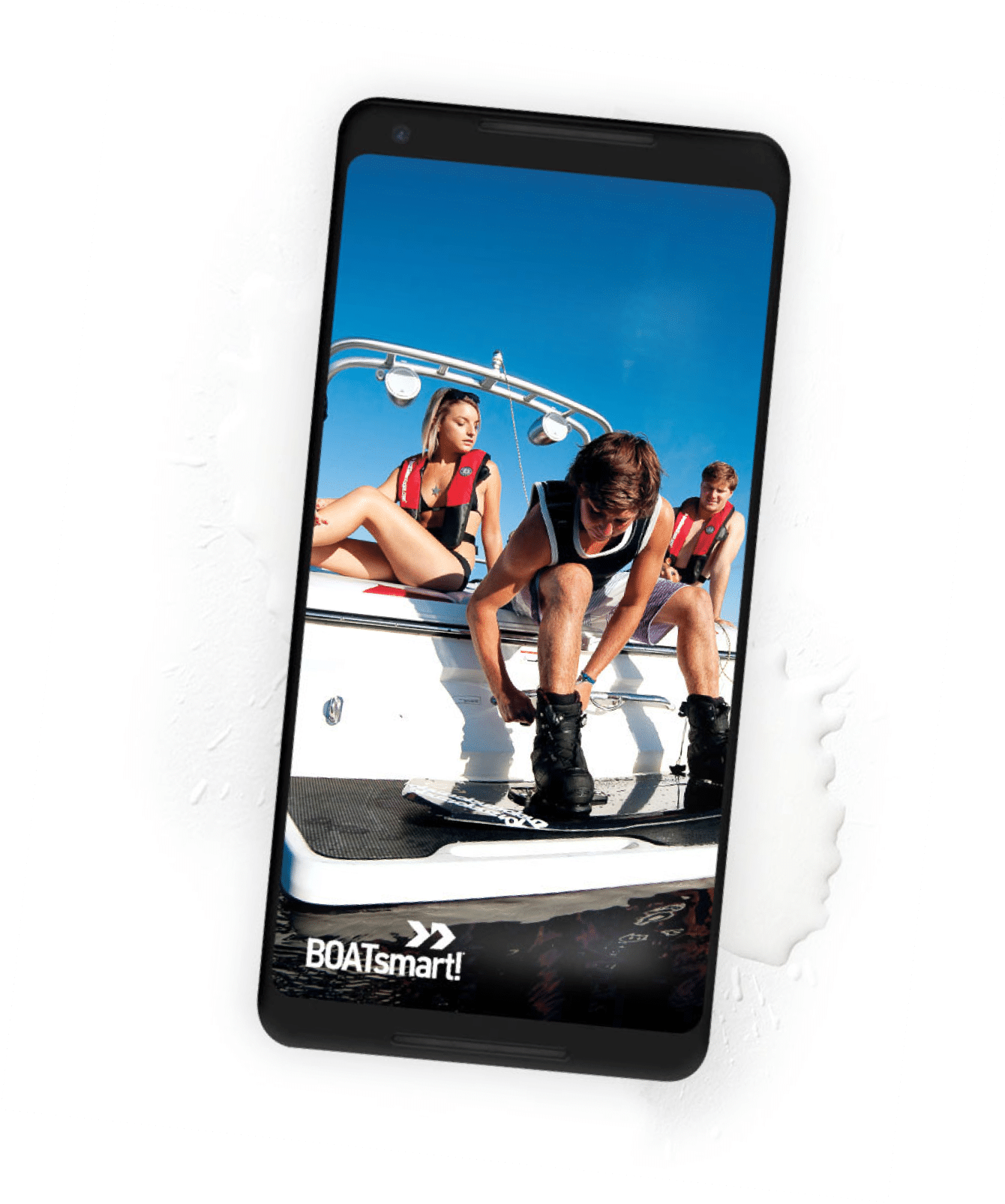 a mobile phone with an image of a wake boarder and friends