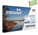 Photograph of the boatsmart printed study guide with a flag reading new for 2020
